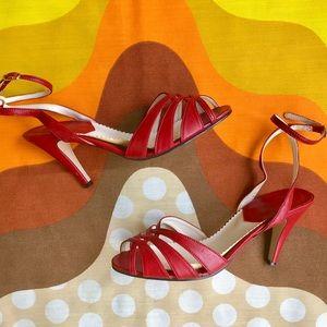 Vintage 1970s open toe ankle strap heels